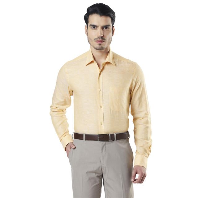 Raymond   Yellow Solid Formal Shirt