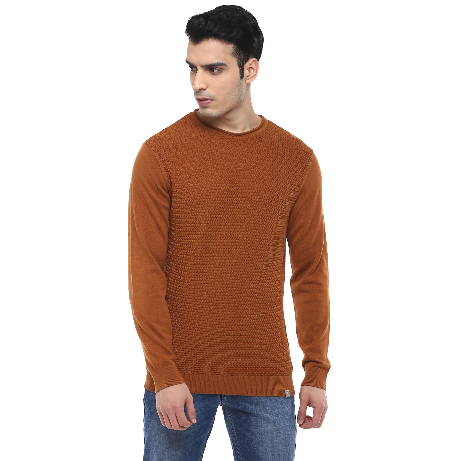 RED CHIEF | Light Brown Solid Sweater