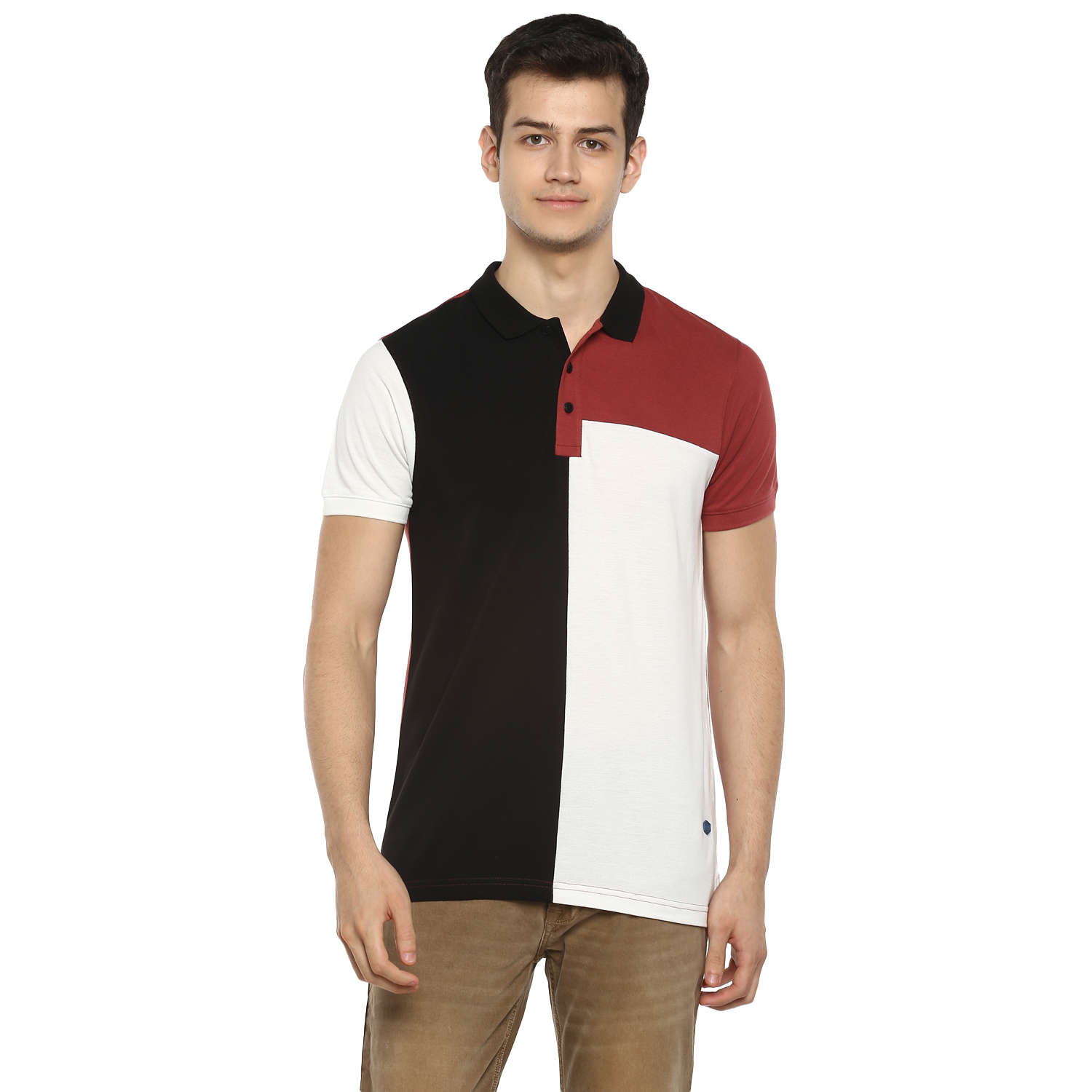 RED CHIEF   Black Solid Polo T-Shirt
