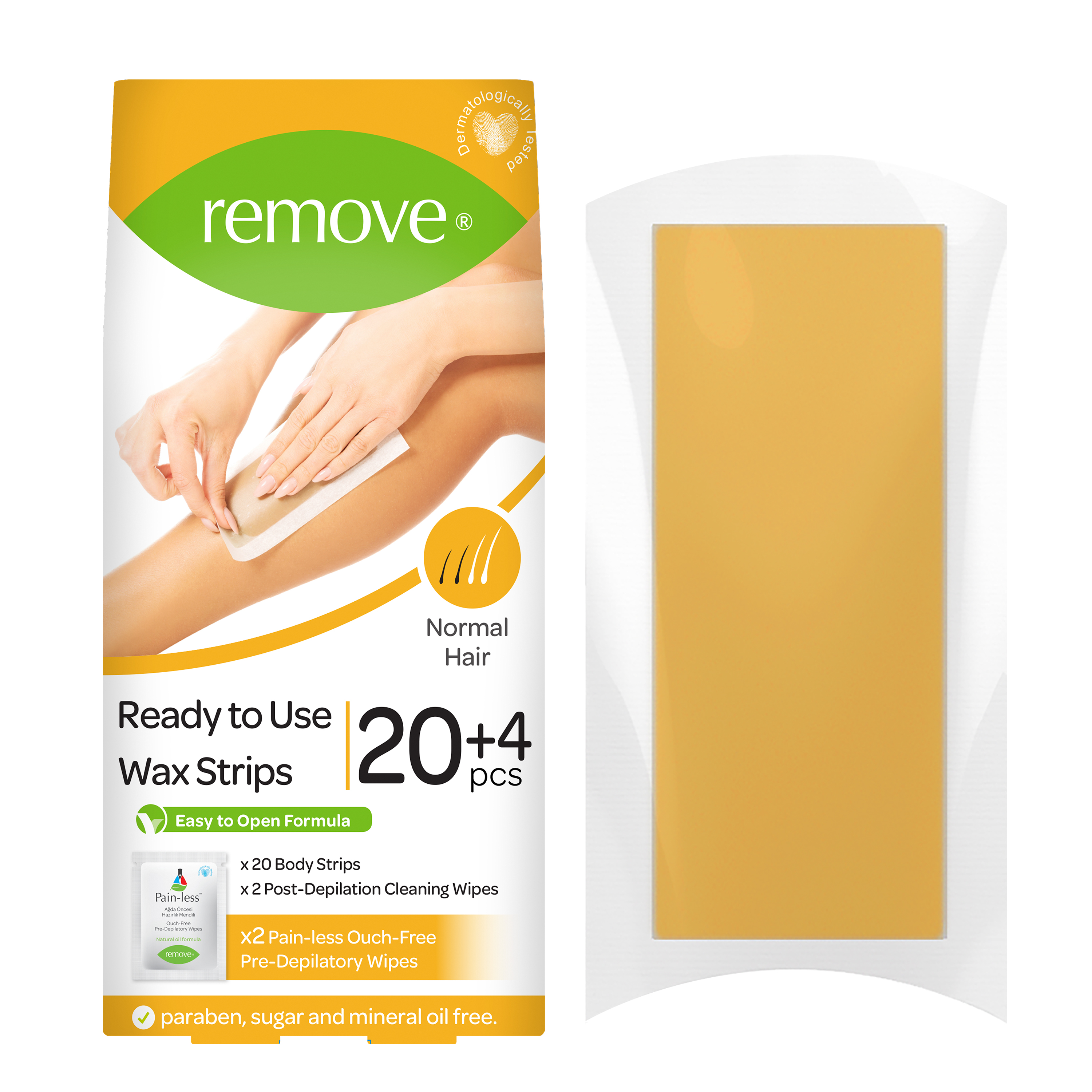 REMOVE | Remove Wax Strips 24 Pcs Body Strips - Normal Hair (20 Body Strips & 2 Pain-Less + 4 Post Depilation Cleaning Wipes)