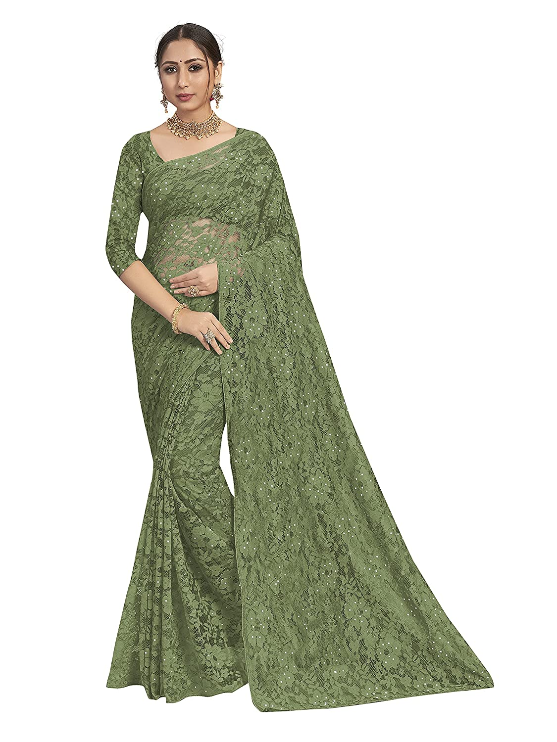 POONAM TEXTILE | Women's Light Green Knit Brasso Saree With Blouse Piece