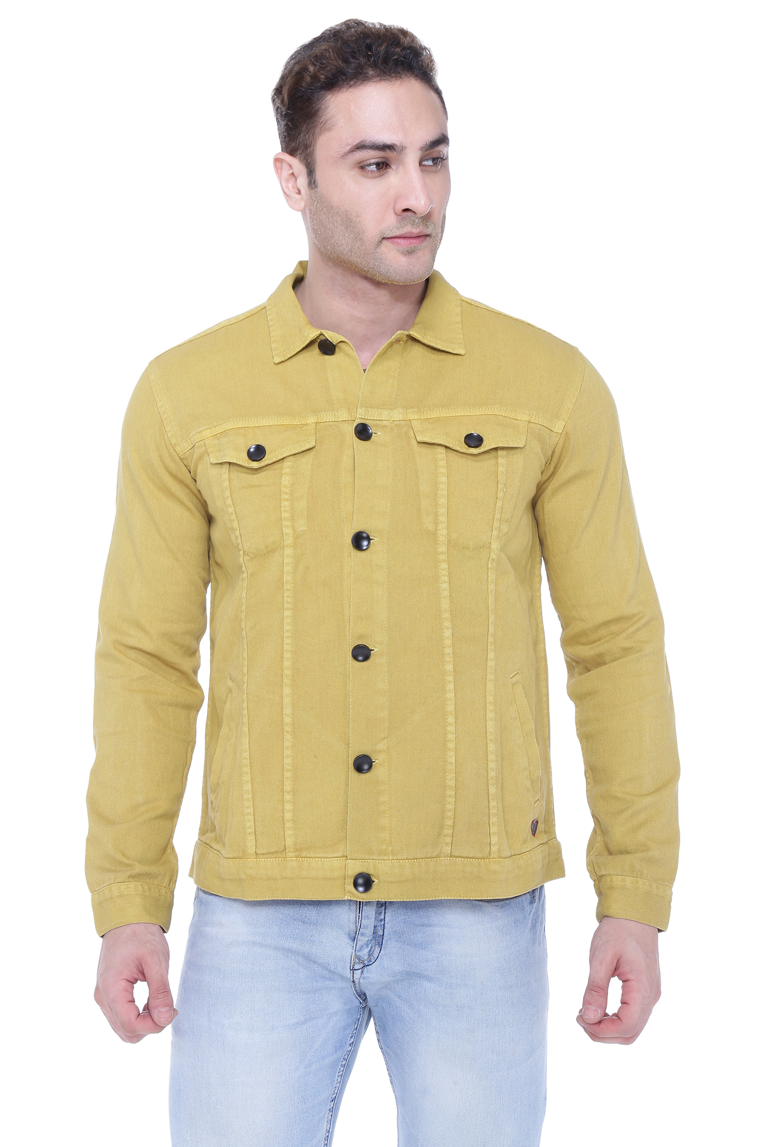 Kuons Avenue | Kuons Avenue Men's Khaki Denim Jacket- KACLFS1364KH