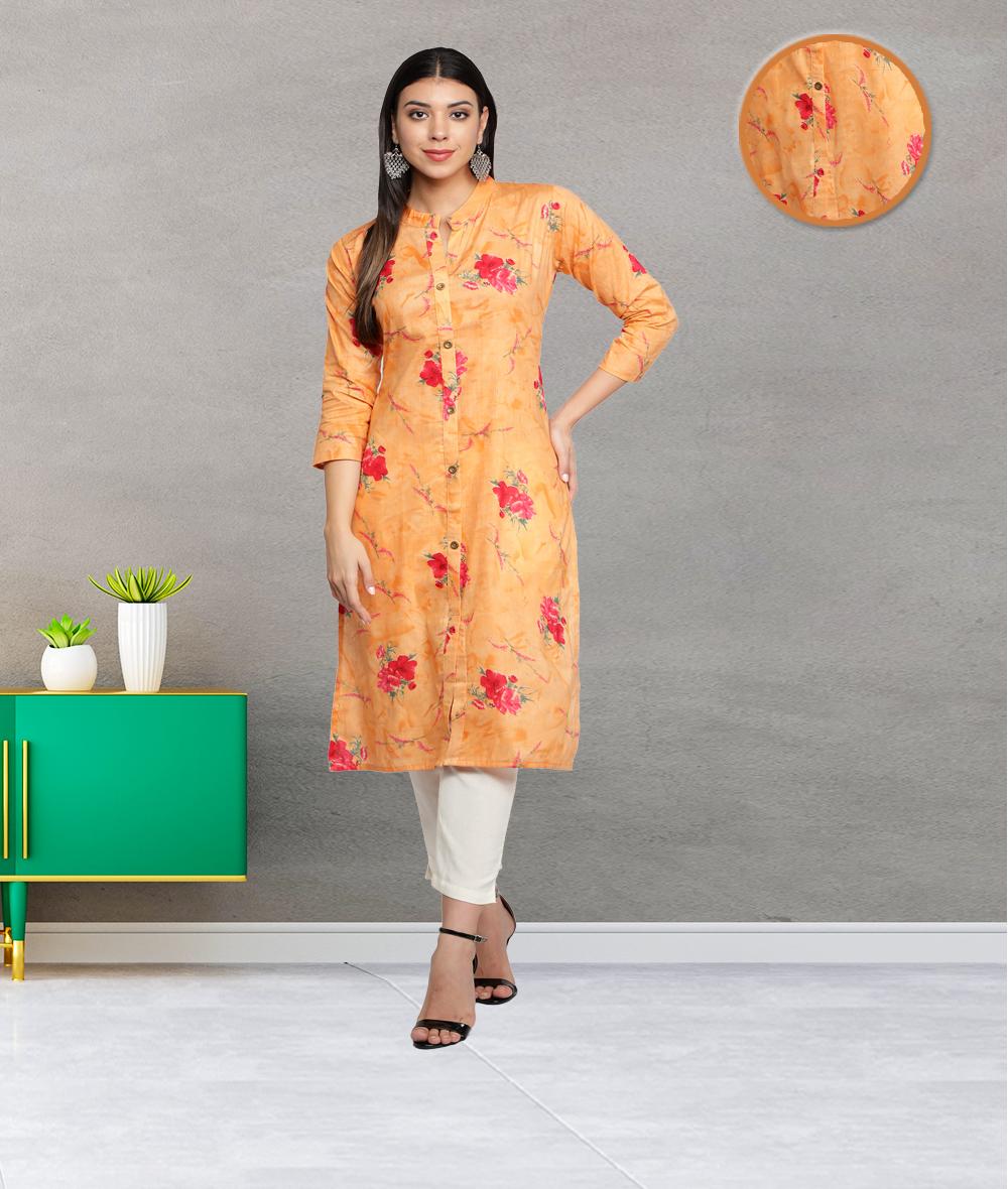Fabclub | Fabclub Cambric Cotton Floral Printed Straight Ladies Kurti (Orange)