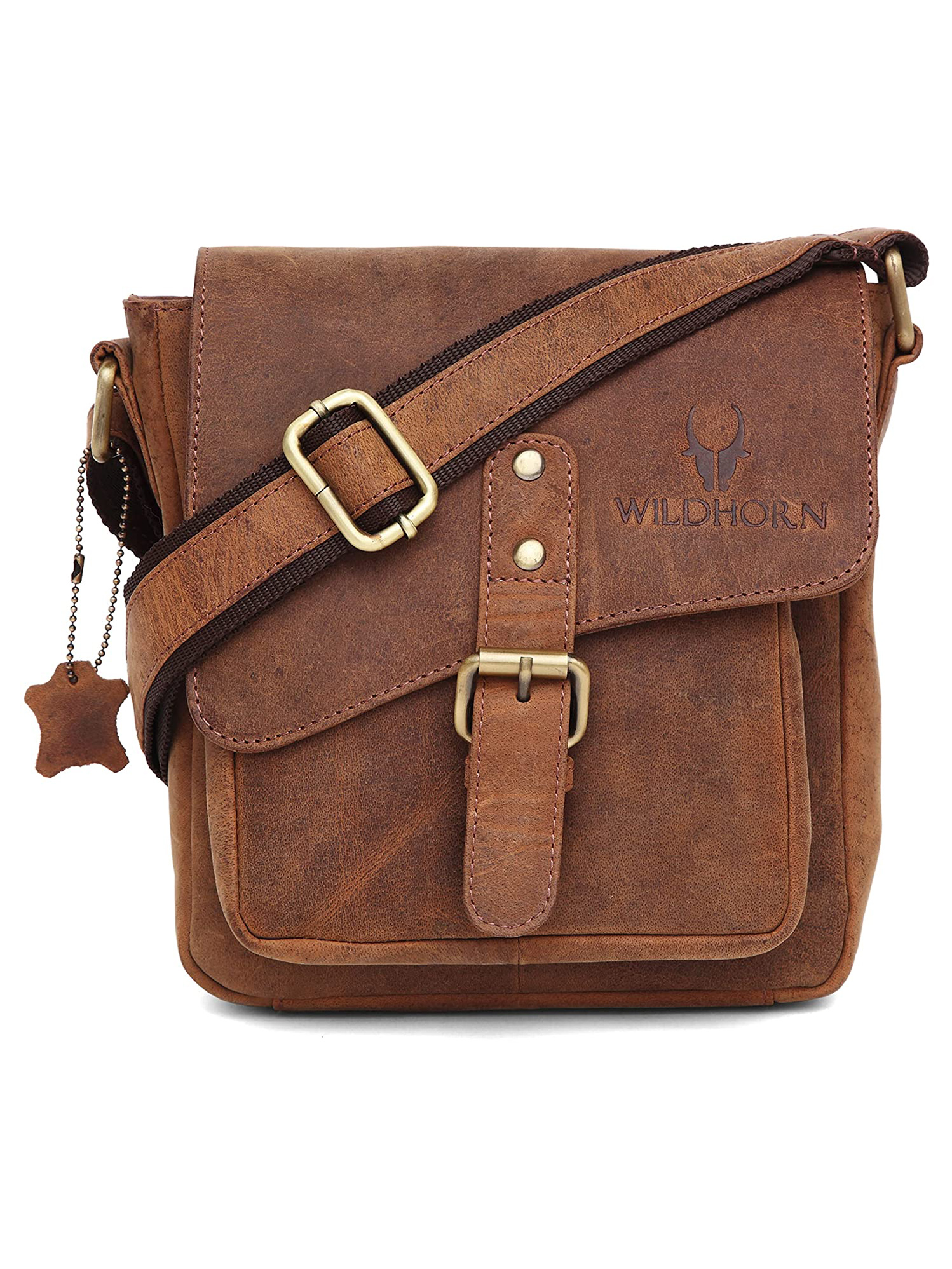 WildHorn   WildHorn 100% Genuine Classic Leather Tan Sling Bag for Men