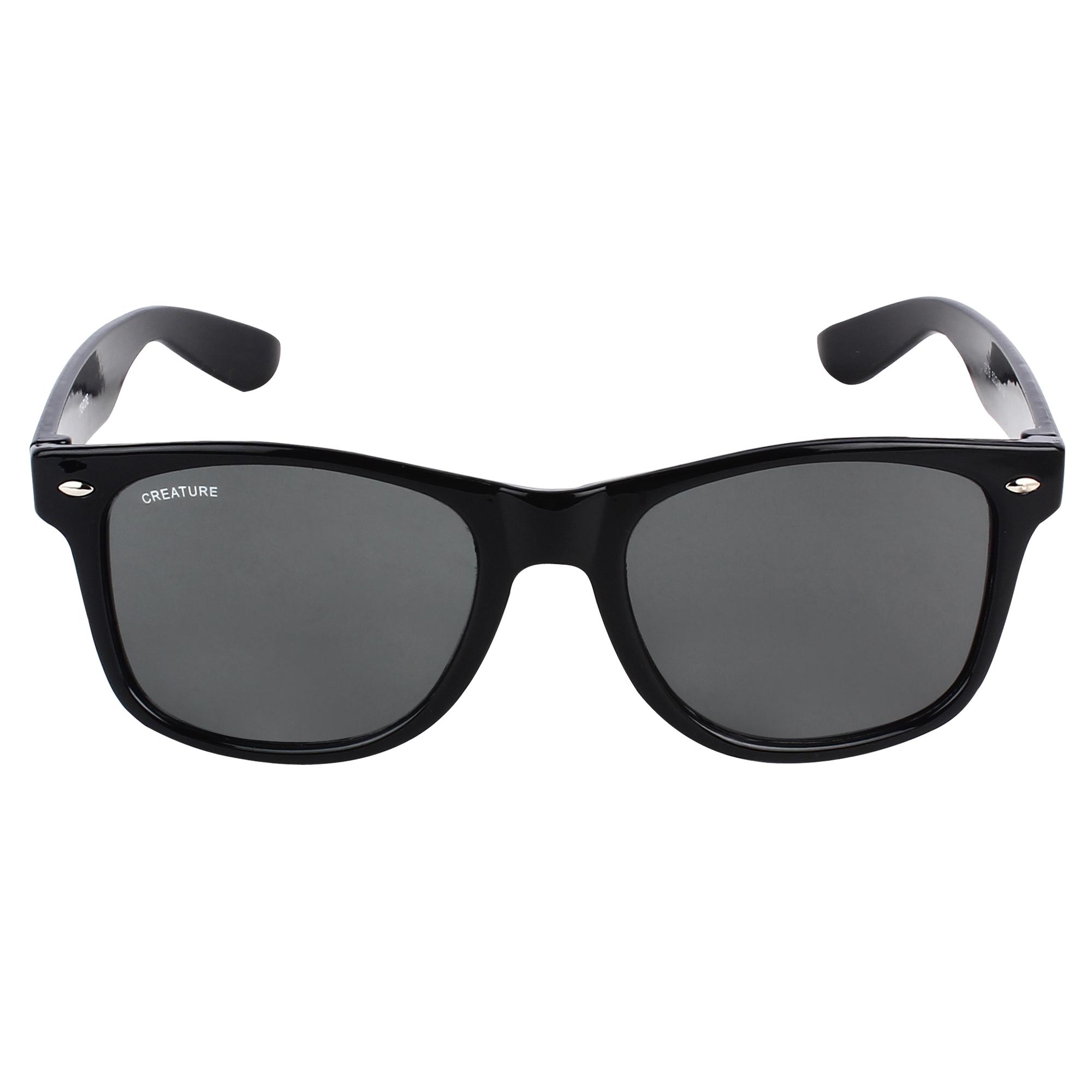 CREATURE   CREATURE Black Glossy Finish Unisex Wayfarer Sunglasses (Lens-Black Frame-Black)