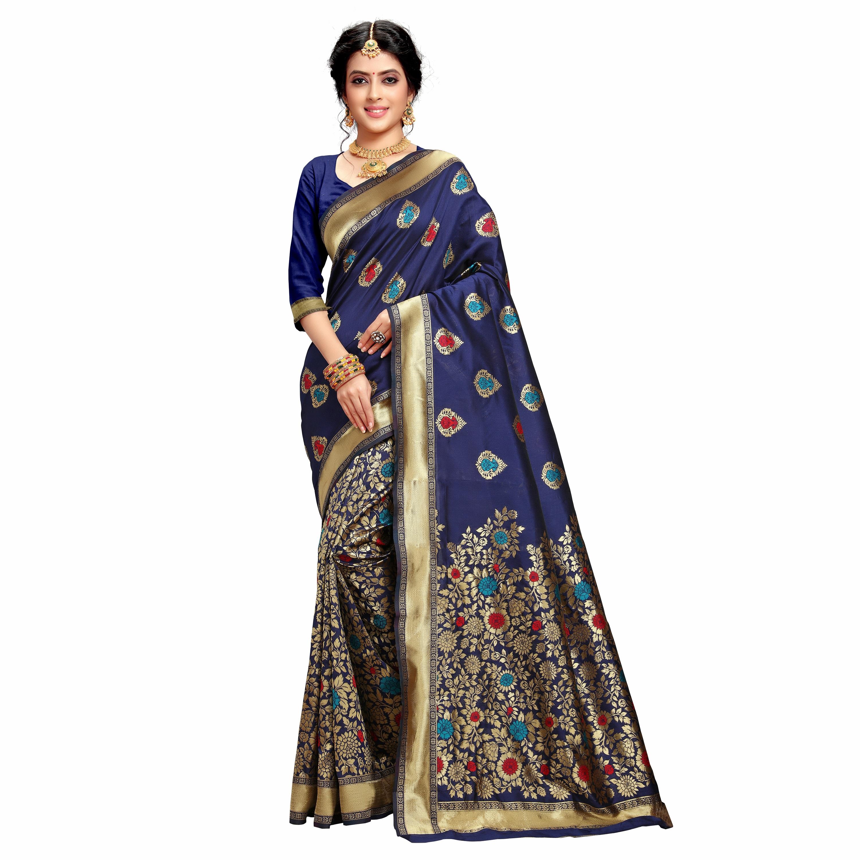 POONAM TEXTILE | Woven Design Banarasi Jacquard Floral Silk Blue Festive Saree