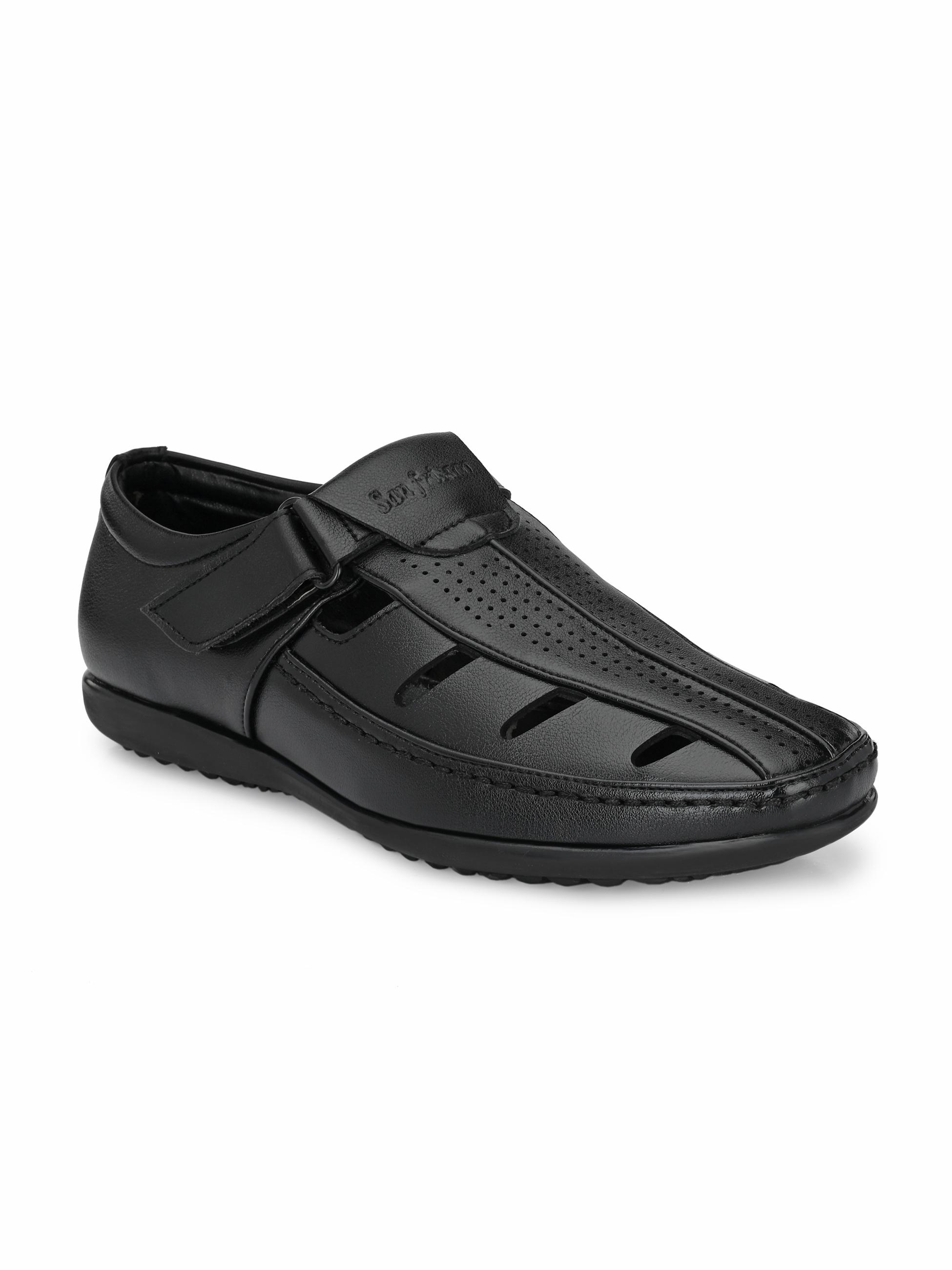 San Frissco | San Frissco Men's Faux Leather Zouk Black Sandals