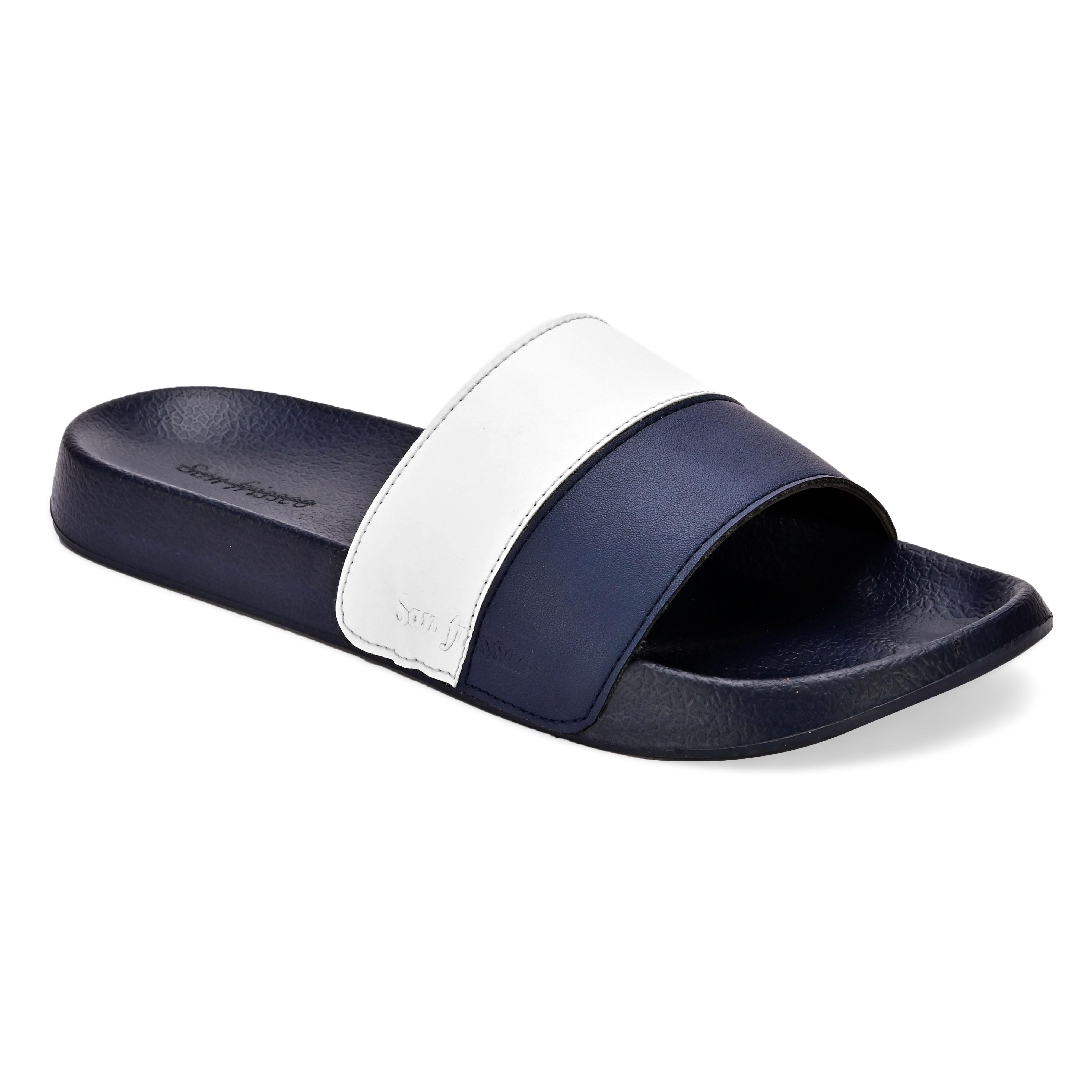 San Frissco | San Frissco Men Faux Leather Ivy Blue Comfort Sliders