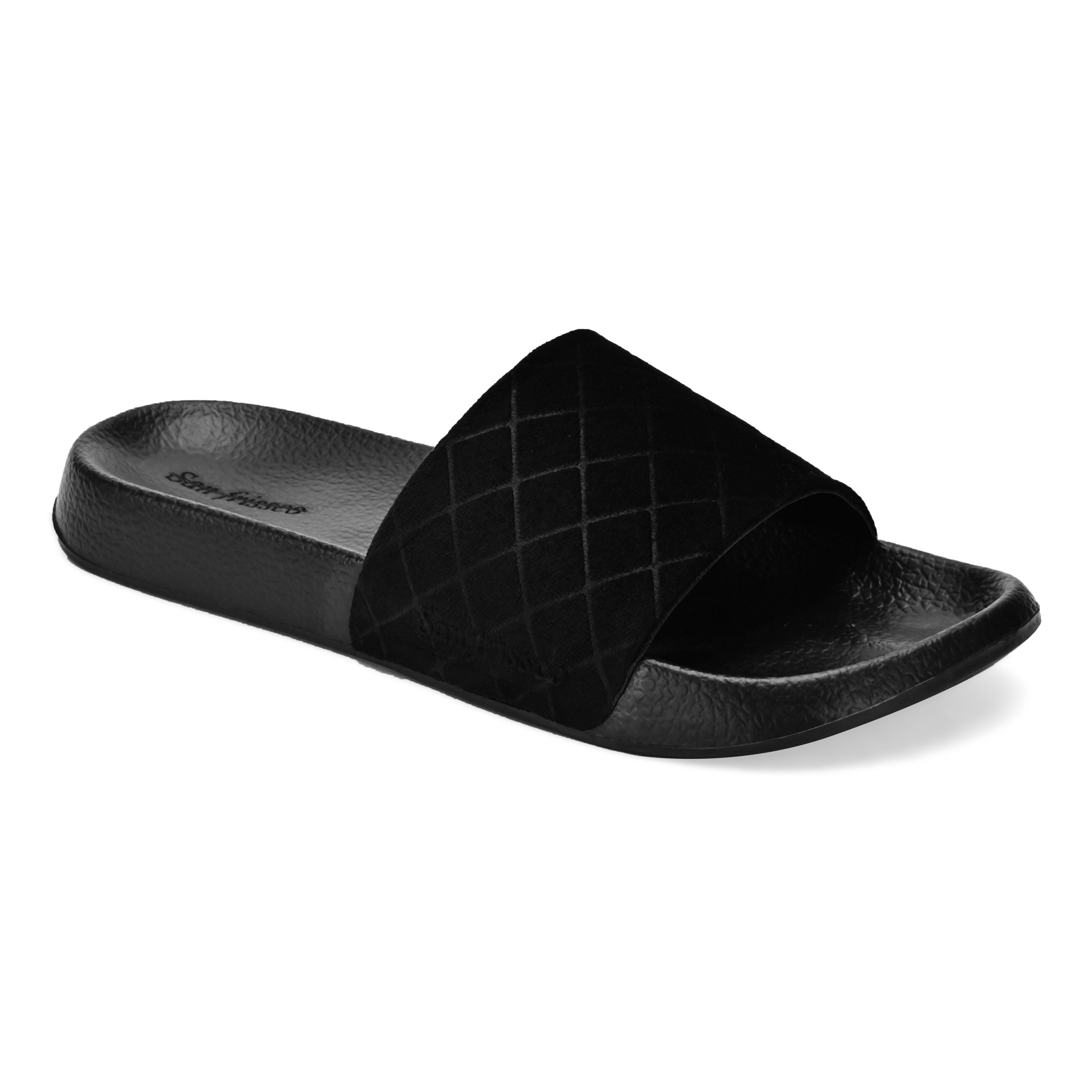 San Frissco | San Frissco Men Velveteen Black Volt Velour Comfort Sliders