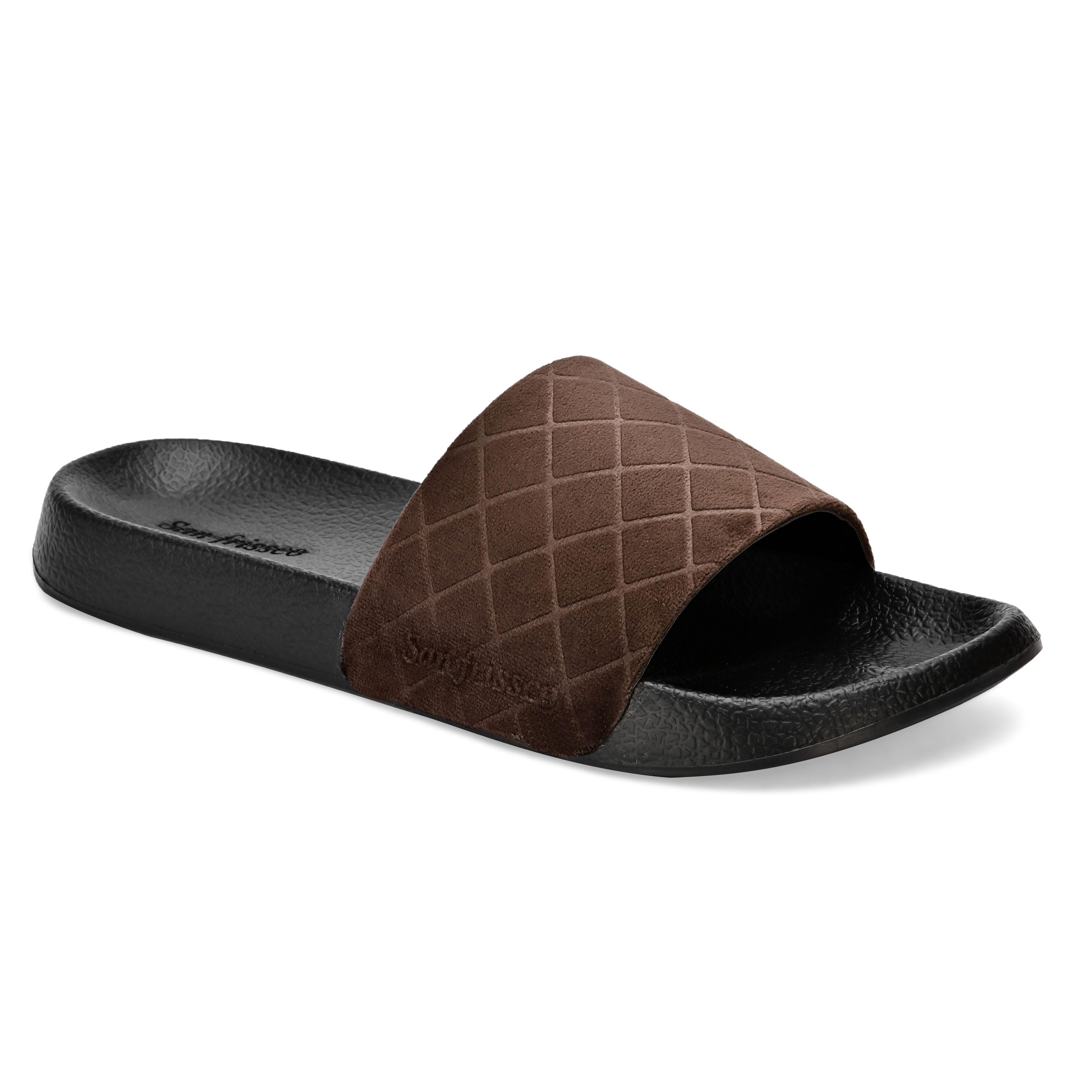 San Frissco | San Frissco Men Faux Leather Brown Volt Velour Comfort Sliders