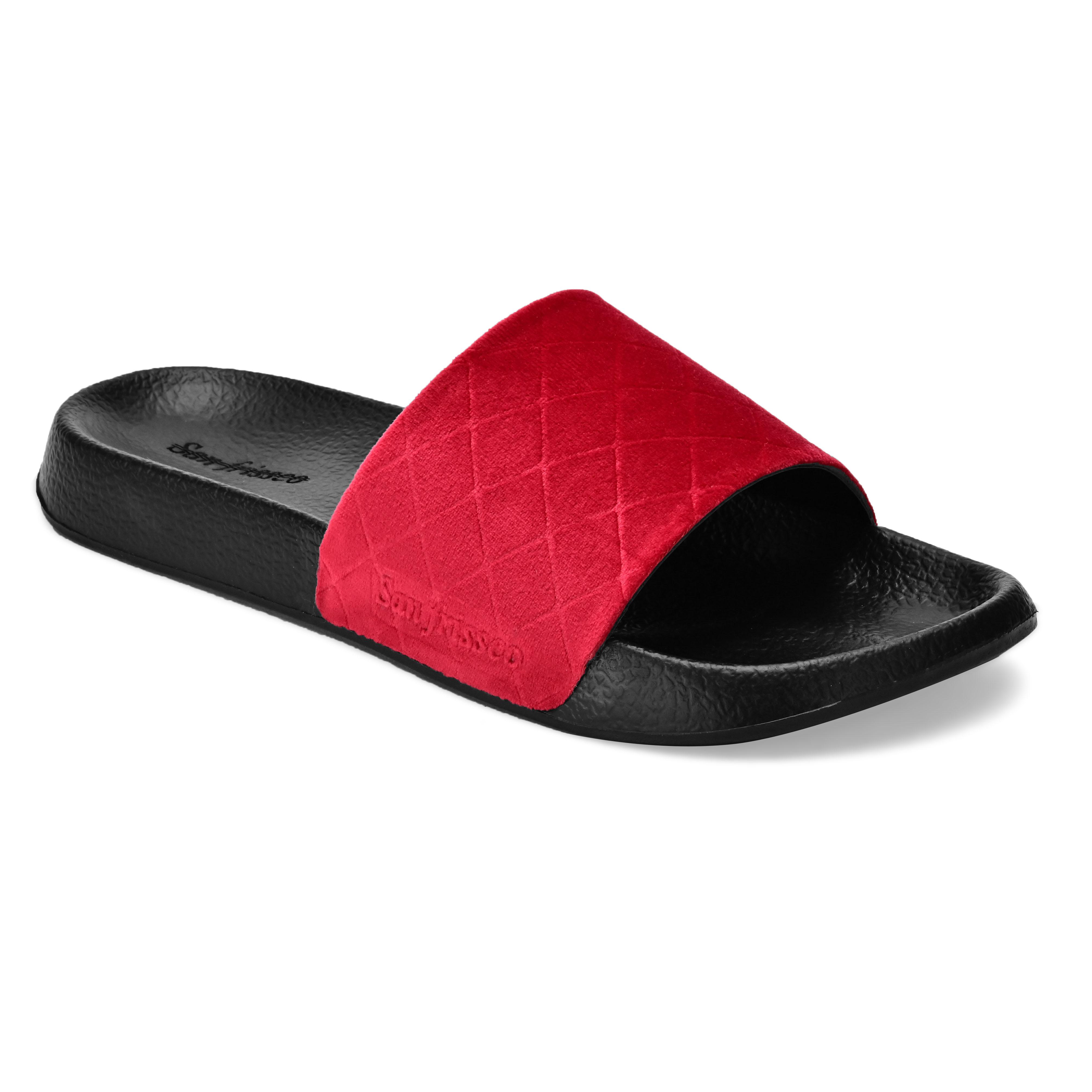 San Frissco | San Frissco Men Faux Leather Red Volt Velour Comfort Sliders