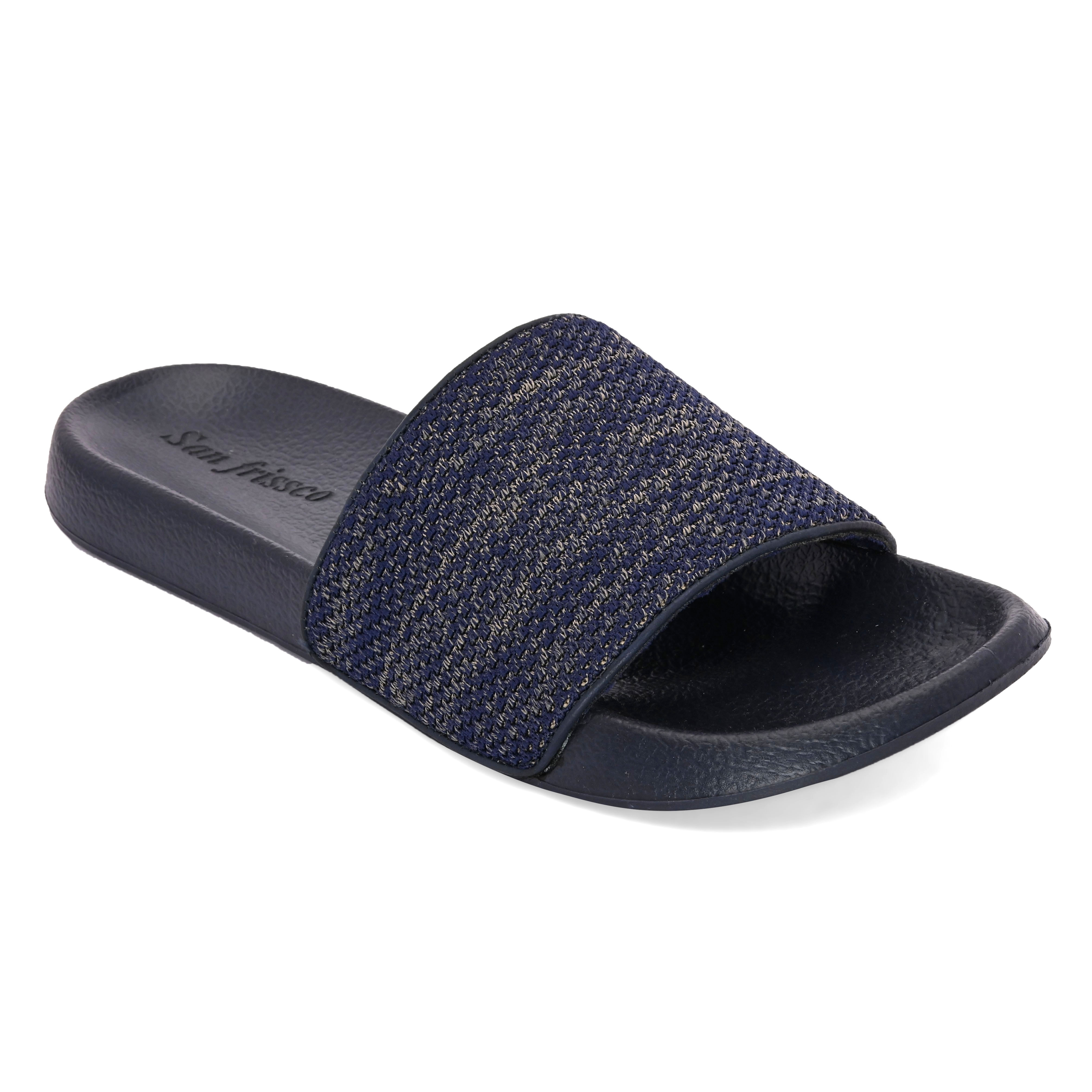 San Frissco   San Frissco Men Faux Leather Eclipse Blue Comfort Sliders