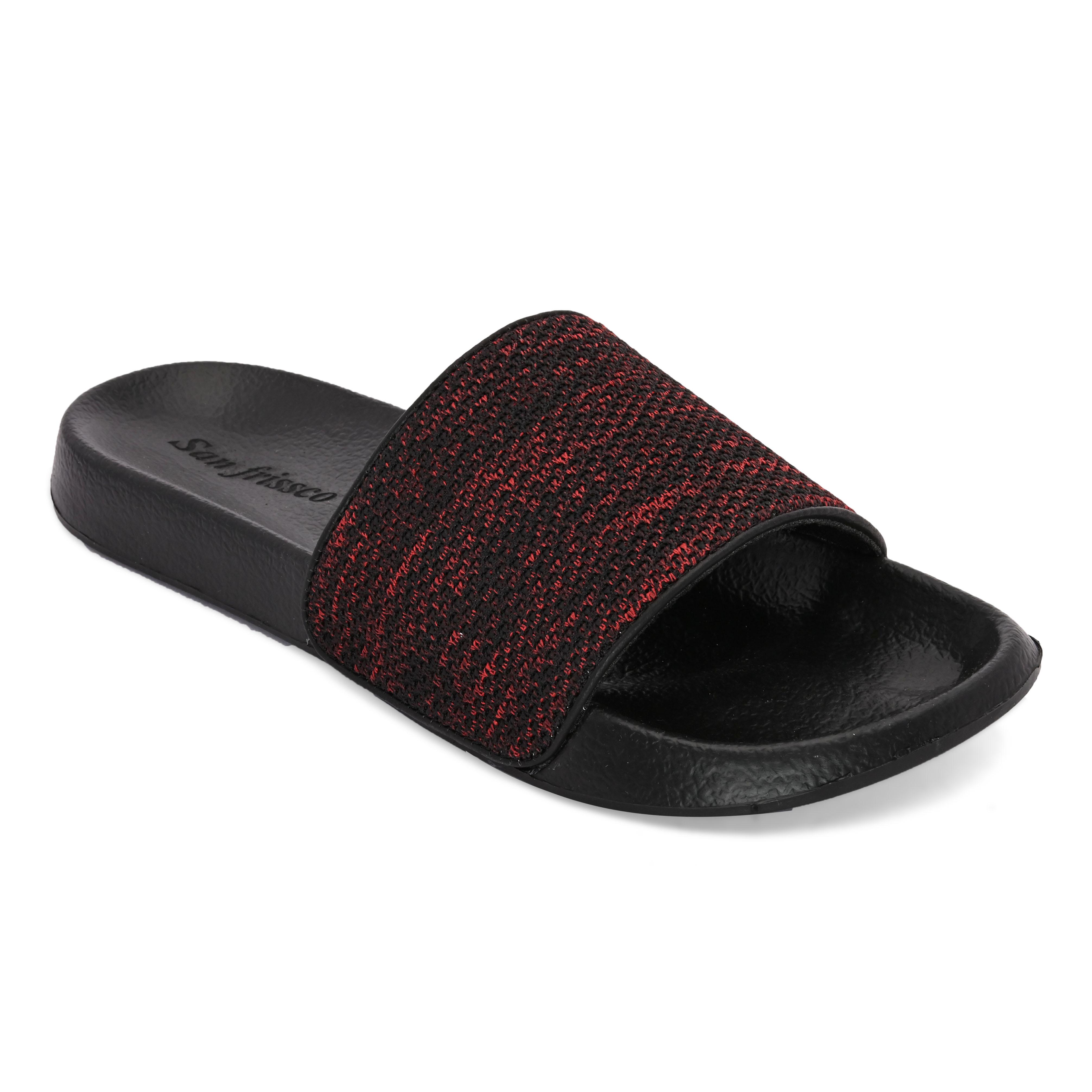 San Frissco | San Frissco Men Faux Leather Eclipse Red Comfort Sliders