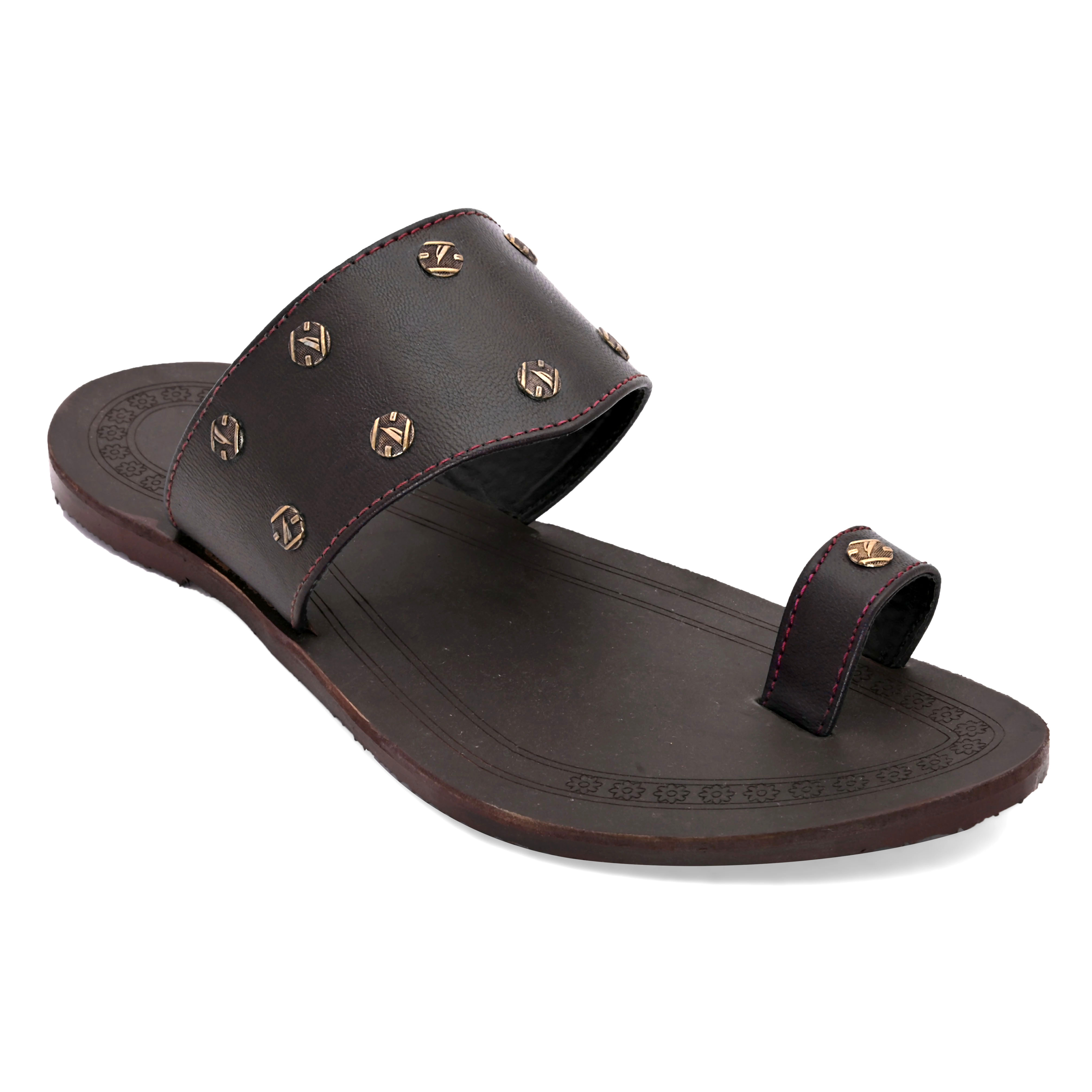 San Frissco | San Frissco Men Faux Leather Bahara Brown Ethnic Kolhapuri Slippers