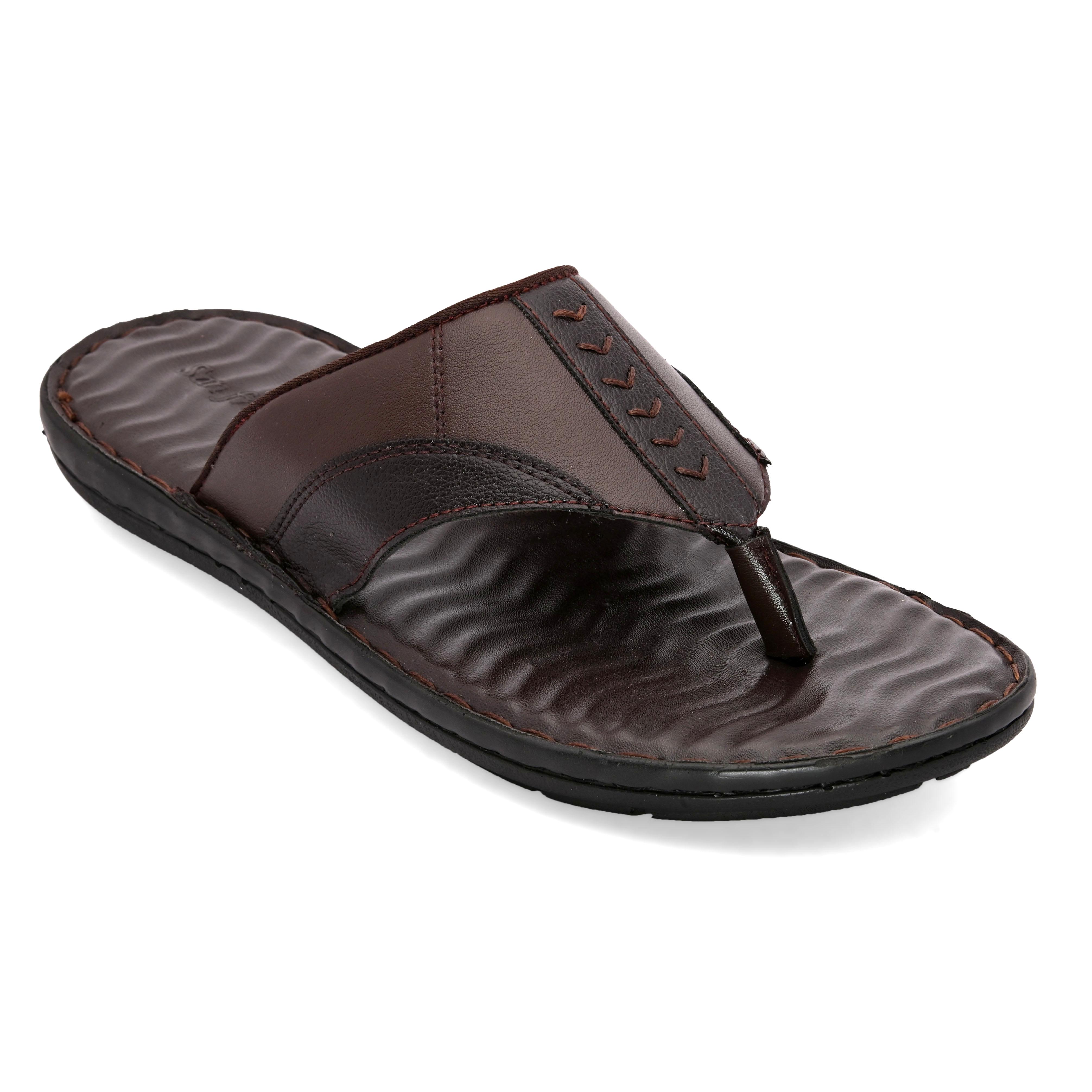 San Frissco   San Frissco Men Faux Leather Glaze Brown Comfort Thong Slippers