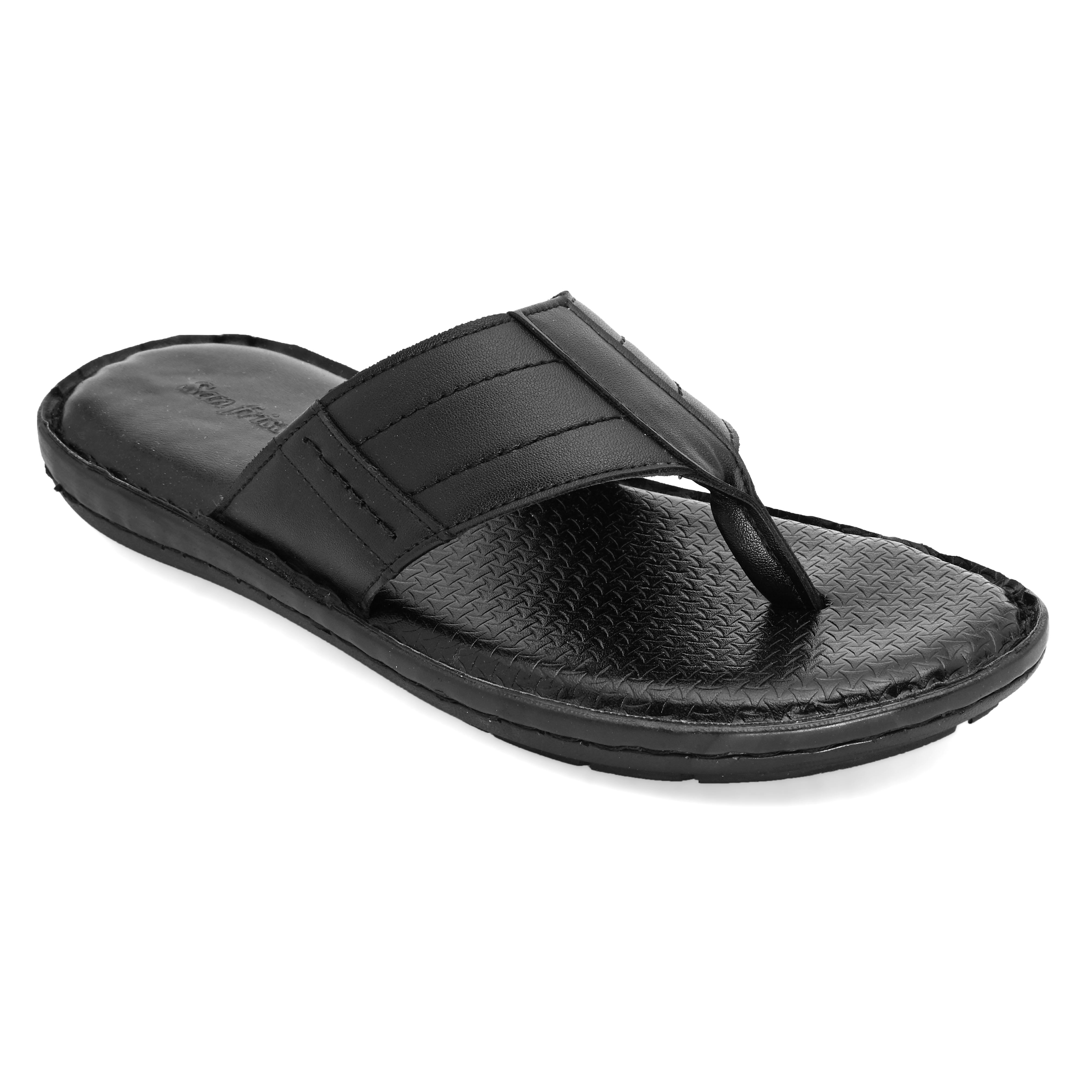 San Frissco | San Frissco Men Faux Leather Fluid Everyday Black Casual Slippers
