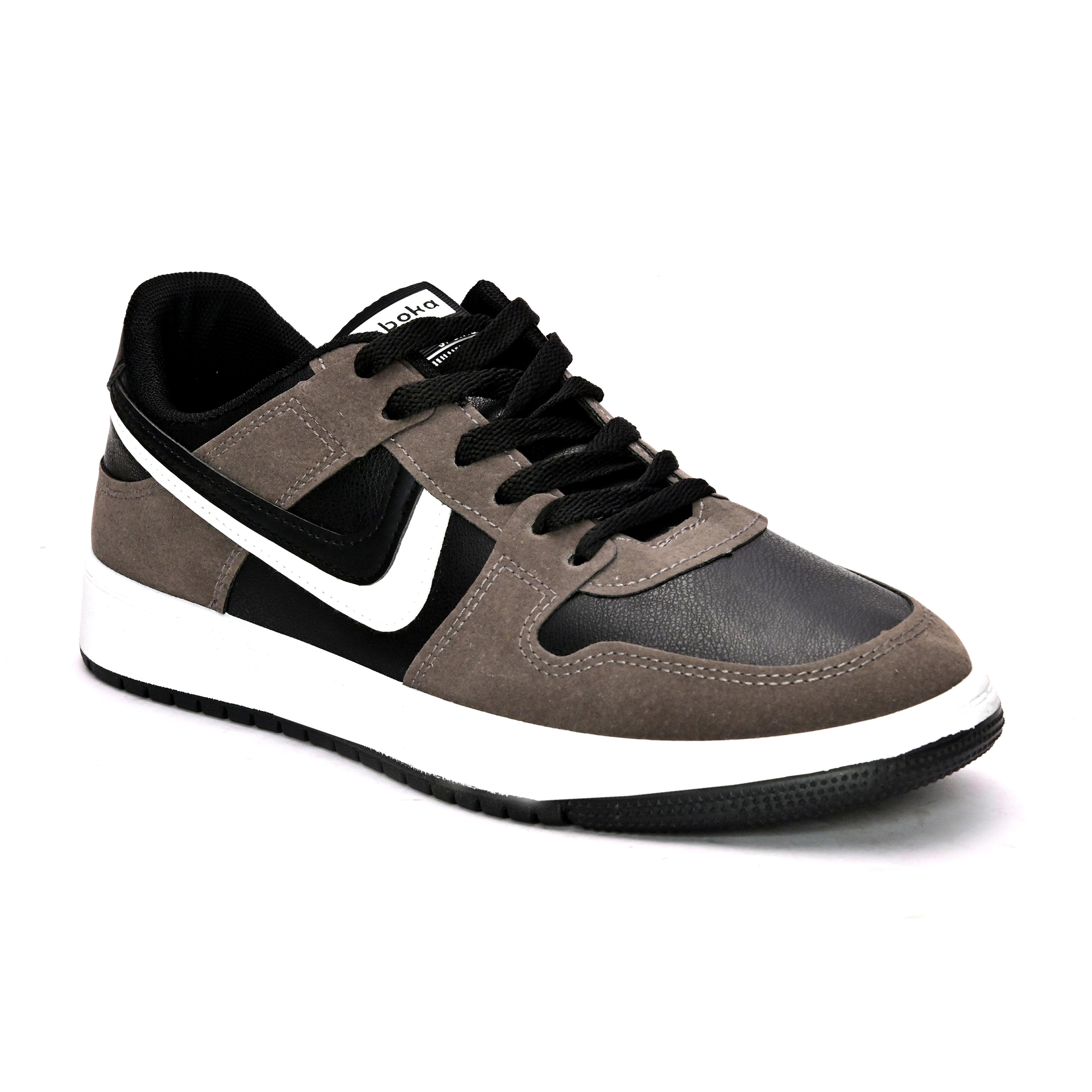 San Frissco | San Frissco Men Faux Leather Soot Grey Sneakers
