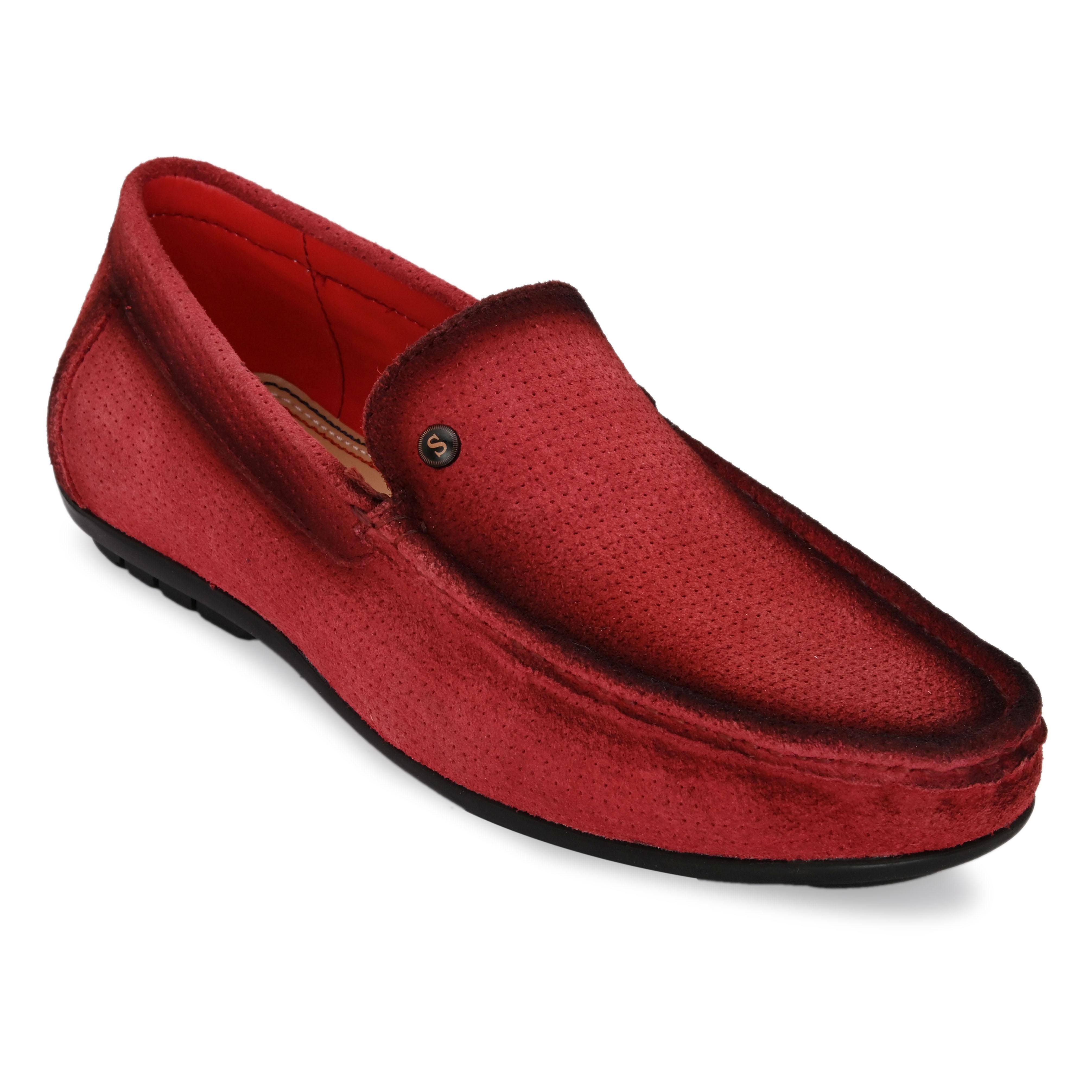 San Frissco | San Frissco Men Genuine leather Btown Red Loafers