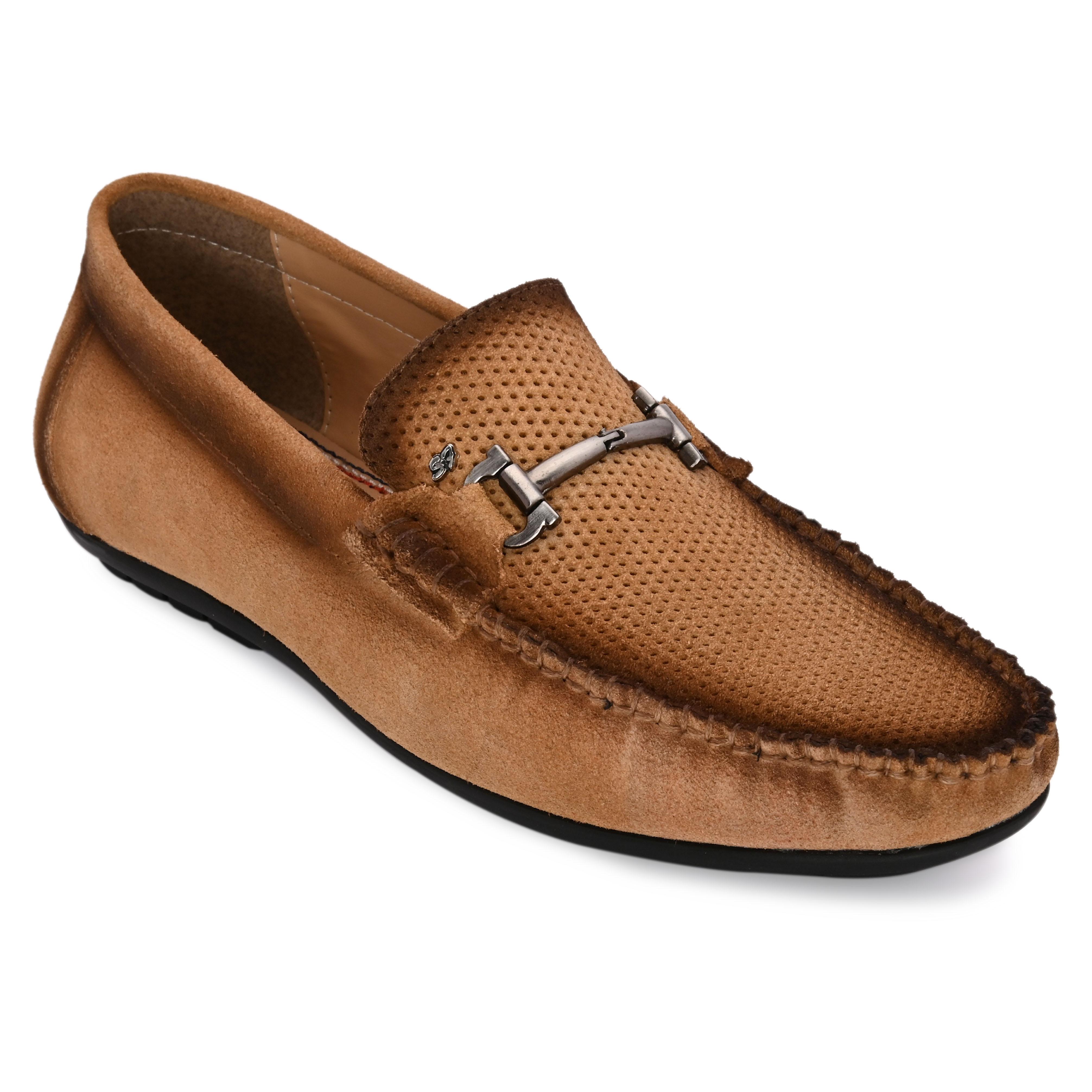 San Frissco | San Frissco Men Genuine leather Stitch Tan Loafers