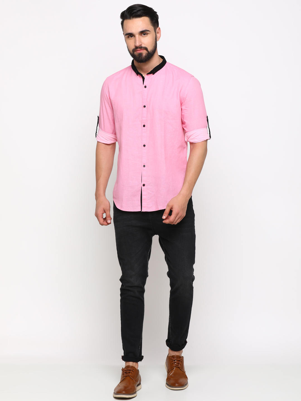 Showoff | SHOWOFF Men's Linen Pink Checks Shirt