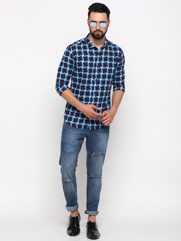 Showoff | SHOWOFF Men's Cotton Multi Checks Shirt
