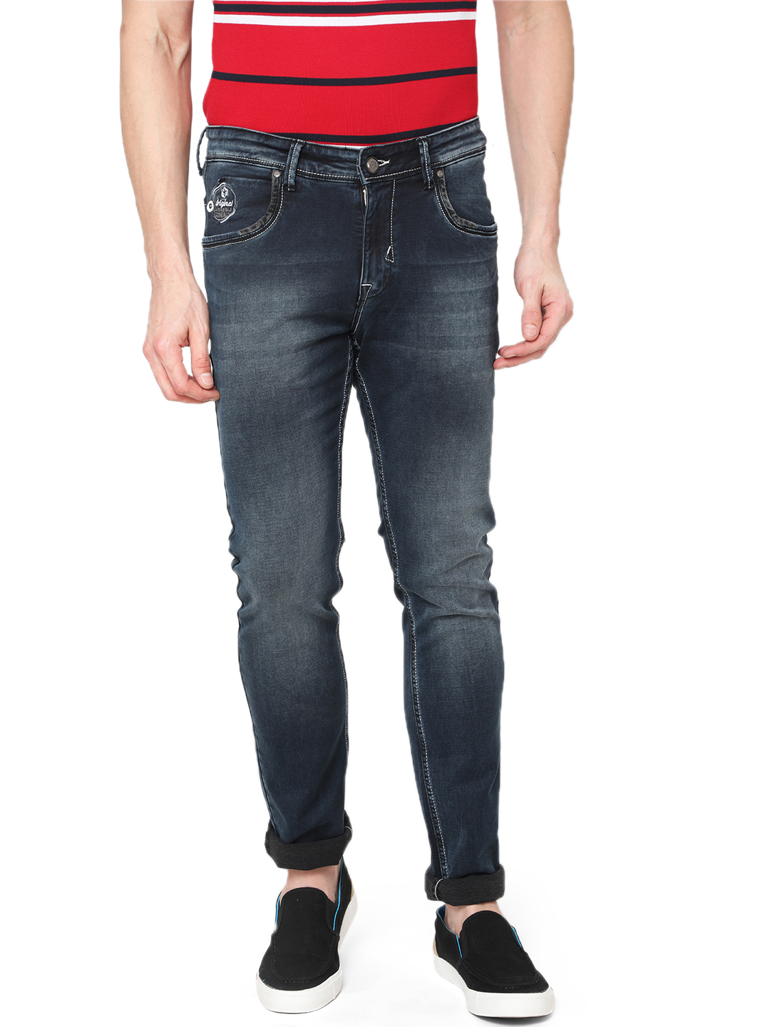 OXEMBERG   Oxemberg Men's Dark Blue Cotton Stretchable Slim Fit Jeans