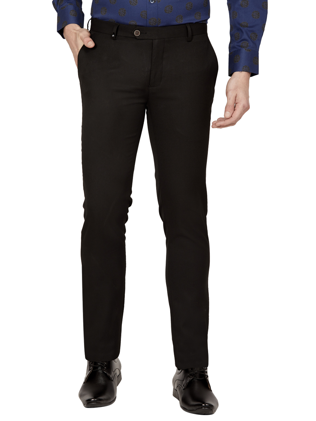OXEMBERG | Oxemberg Men's Poly Viscose Anti Viral Slim Fit Formal Trousers