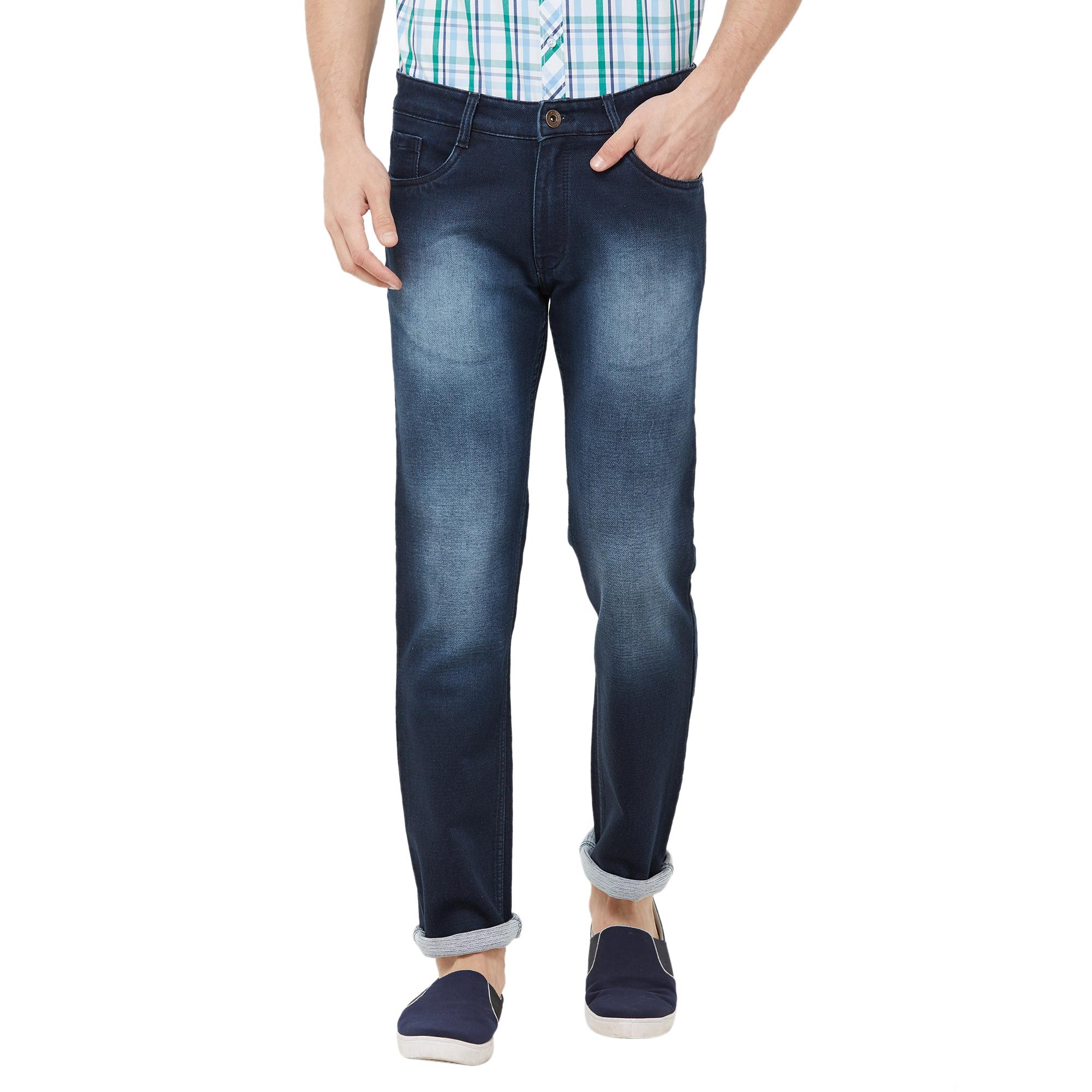 SOLEMIO | navy blue heavy washed denim jeans