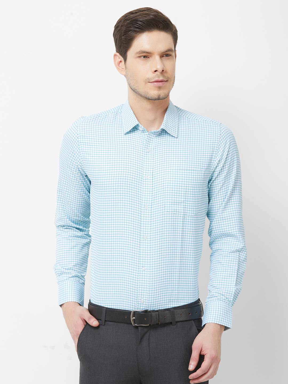 SOLEMIO   Blue Checks Formal Shirt