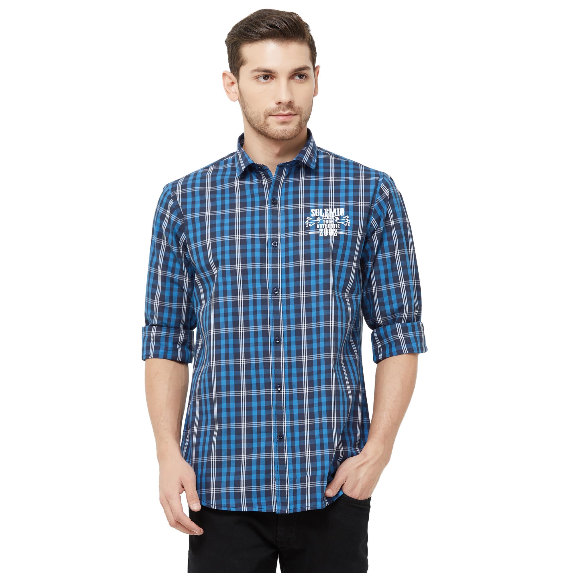 SOLEMIO | Blue Checks Casual Shirt