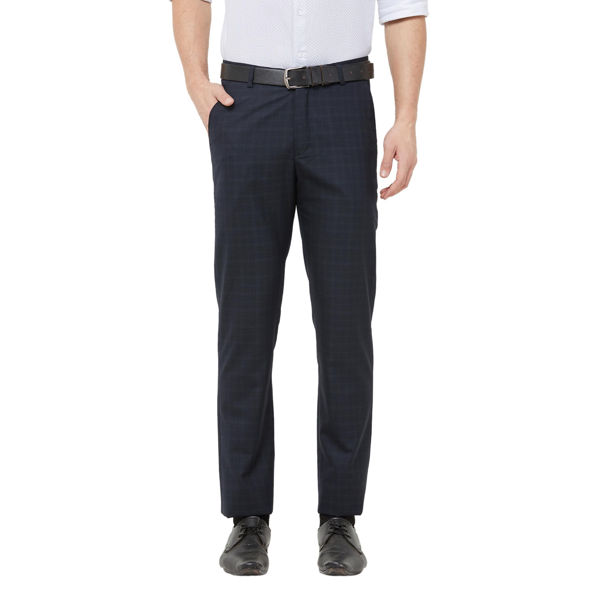 SOLEMIO | Solemio Poly Blend Checks Grey Trouser For Mens