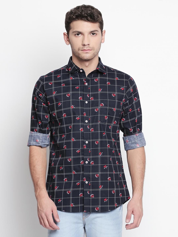 SOLEMIO | Navy Blue Checks Casual Shirt
