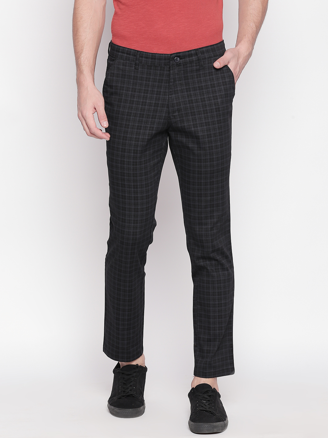 SOLEMIO   Solemio Cotton Blend Ankle Length Chinos For Mens