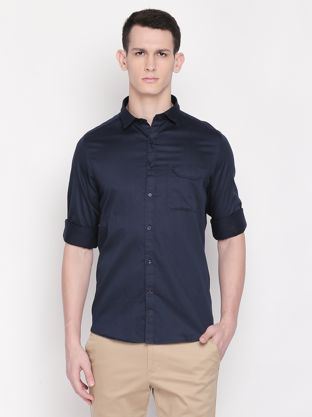 SOLEMIO | Navy Blue Solid Casual Shirt