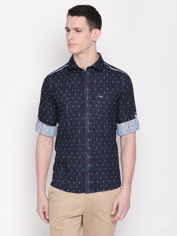 SOLEMIO | Navy Blue Printed Casual Shirt