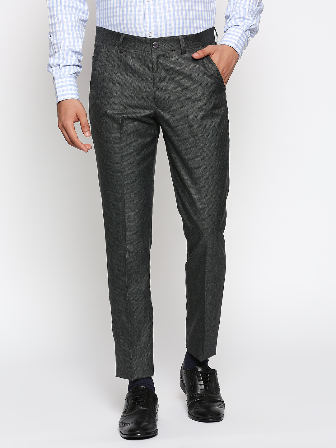 SOLEMIO   Solemio Poly Viscose Ankle Length Checks Formal Trouser For Mens