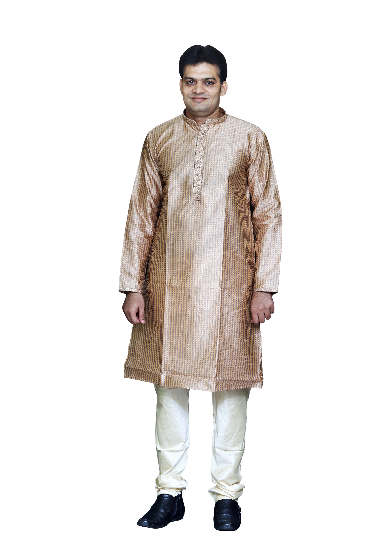 Sreemant Blended Silk Woven Beige Kurta for Men