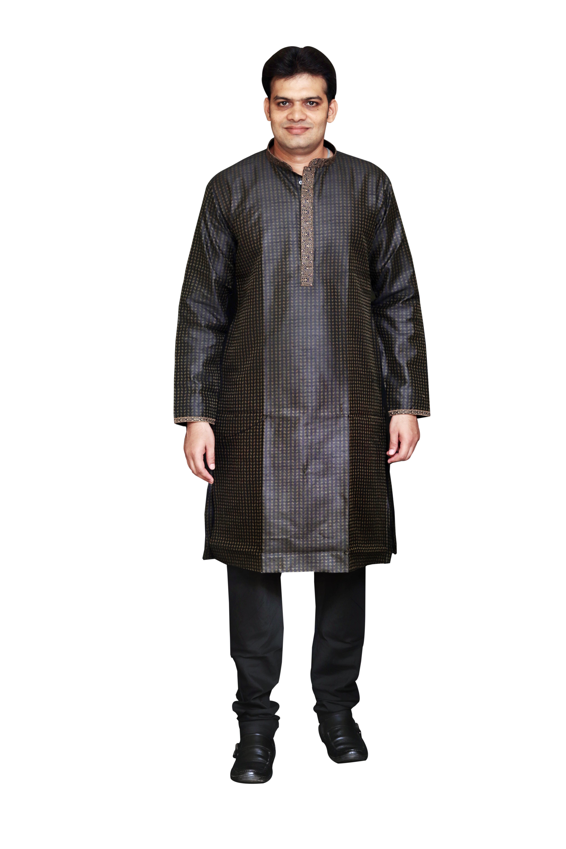 Sreemant Blended Silk Woven Black Kurta for Men