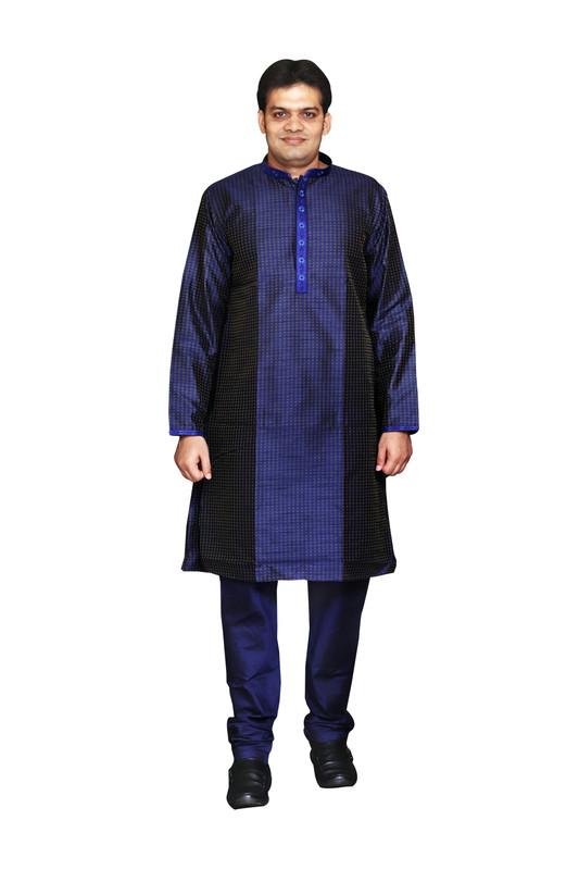 Sreemant Blended Silk Woven Blue Kurta for Men