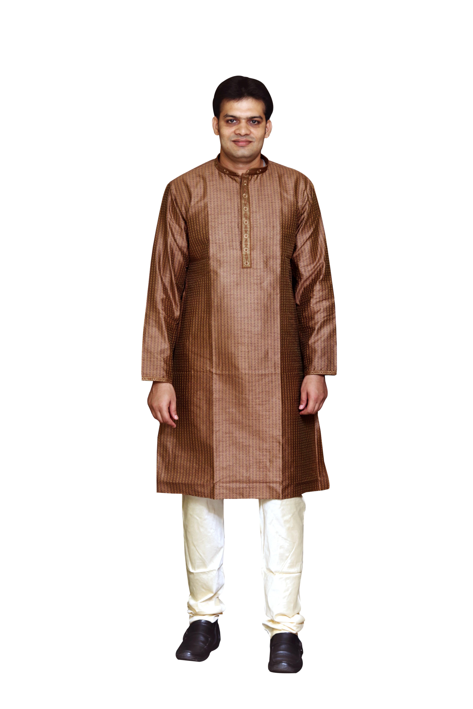 Sreemant | Sreemant Blended Silk Woven Brown Kurta for Men
