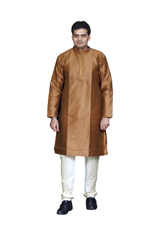 Sreemant | Sreemant Blended Silk Woven Chocolate Brown Kurta for Men