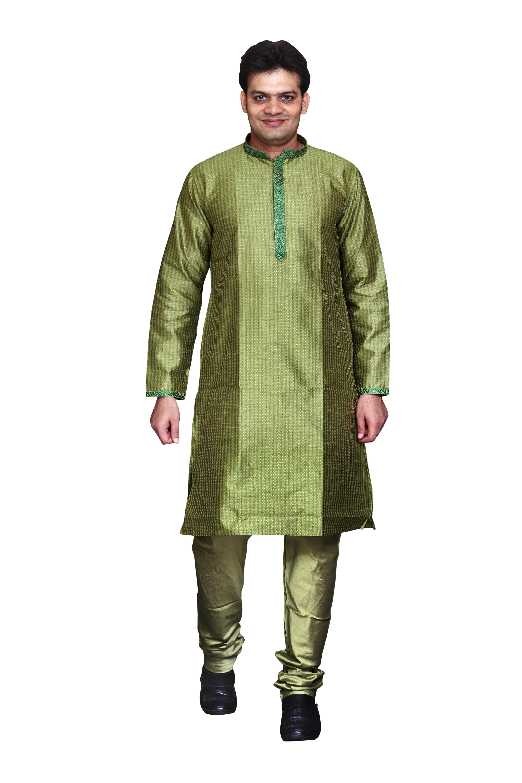 Sreemant Blended Silk Woven Light Green Kurta for Men