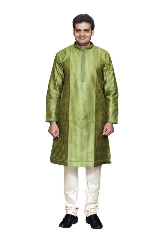 Sreemant   Sreemant Blended Silk Woven Light Green Kurta for Men