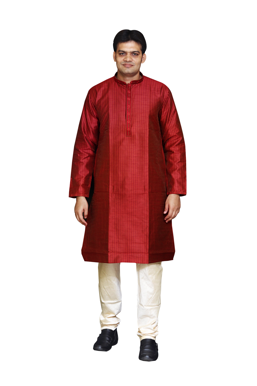 Sreemant Blended Silk Woven Maroon Kurta for Men