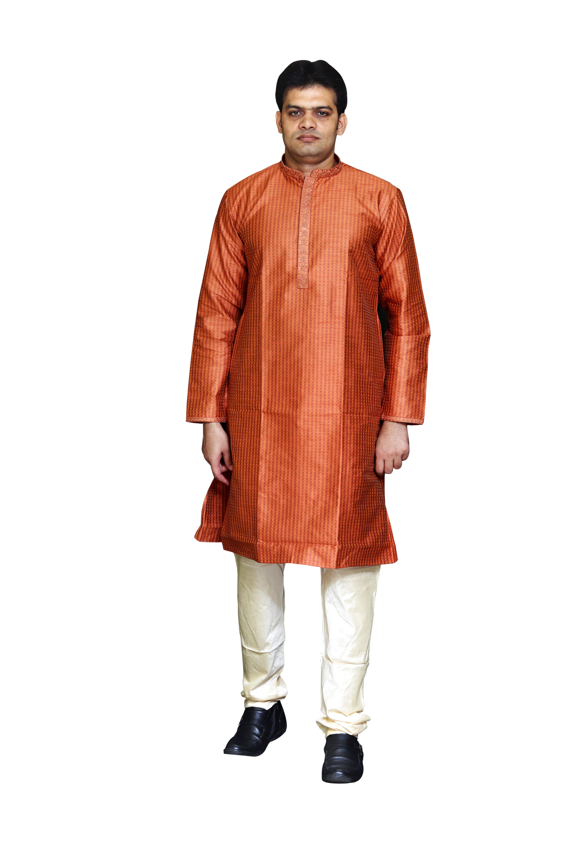 Sreemant Blended Silk Woven Rust Kurta for Men