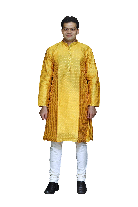 Sreemant Blended Silk Woven Yellow Kurta for Men