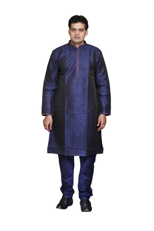 Sreemant | Sreemant Blended Silk Woven Blue Kurta for Men