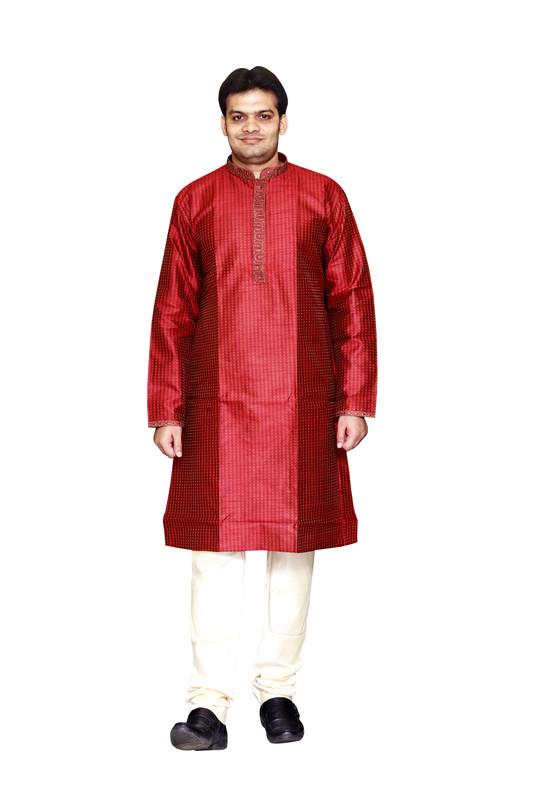 Sreemant   Sreemant Blended Silk Woven Maroon Kurta for Men