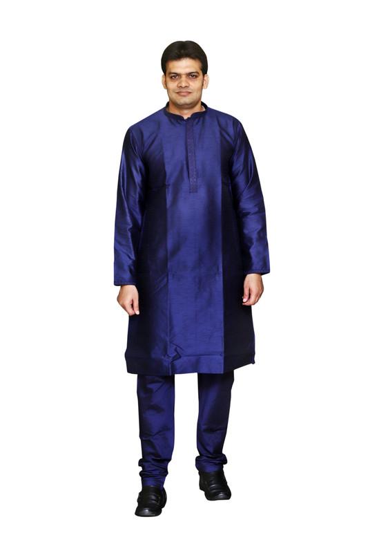 Sreemant | Sreemant Blended Art Silk Textured Blue Kurta for Men, KSMB806-BLU22