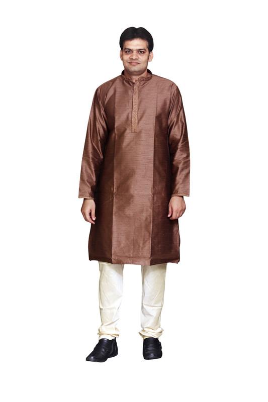 Sreemant | Sreemant Blended Art Silk Textured Brown Kurta for Men, KSMB806-BWN21